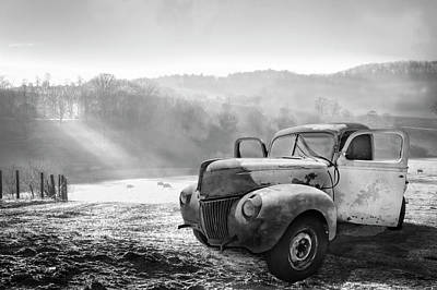 Photograph - Ford In The Fog Black And White by Debra and Dave Vanderlaan