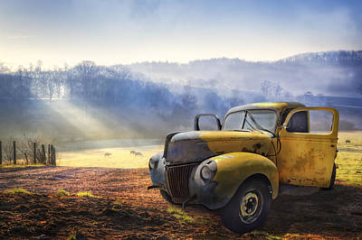 Ford In The Fog Print by Debra and Dave Vanderlaan