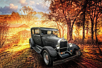 Photograph - Ford In The Sunlight On The Farm Lane by Debra and Dave Vanderlaan