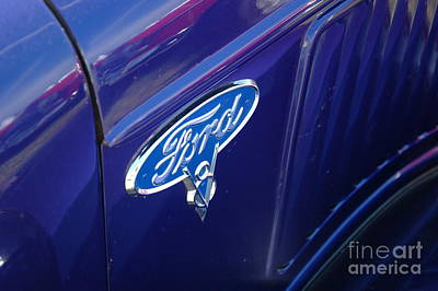 Purple V8 Photograph - Ford Logo - '36 V8 Truck - Purple by Kathy Carlson