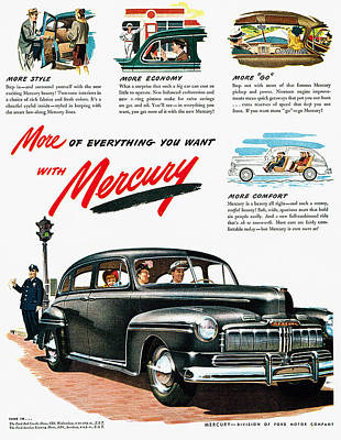 Photograph - Ford Mercury Ad, 1946 by Granger