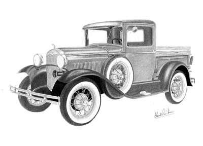 Ford Model A Drawing - Ford Model A 1930 by Claude Prud' homme