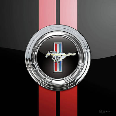 Digital Art - Ford Mustang 3 D Badge Special Edition On Black With Red Stripes by Serge Averbukh