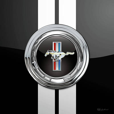 Digital Art - Ford Mustang 3 D Badge Special Edition On Black With White Stripes by Serge Averbukh