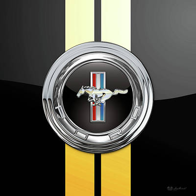 Digital Art - Ford Mustang 3 D Badge Special Edition On Black With Yellow Stripes by Serge Averbukh