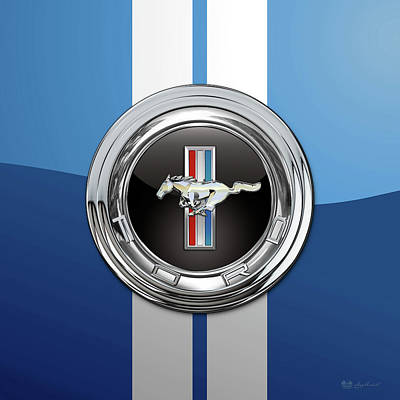Digital Art - Ford Mustang 3 D Badge Special Edition On Blue With White Stripes by Serge Averbukh