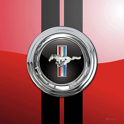Digital Art - Ford Mustang 3 D Badge Special Edition On Red With Black Stripes by Serge Averbukh