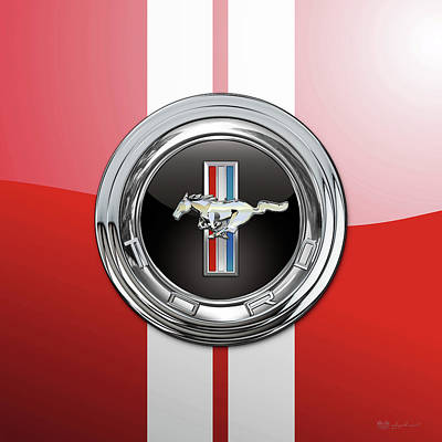 Digital Art - Ford Mustang 3 D Badge Special Edition On Red With White Stripes by Serge Averbukh