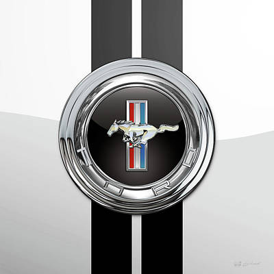 Digital Art - Ford Mustang 3 D Badge Special Edition On White With Black Stripes by Serge Averbukh