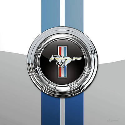 Digital Art - Ford Mustang 3 D Badge Special Edition On White With Blue Stripes by Serge Averbukh