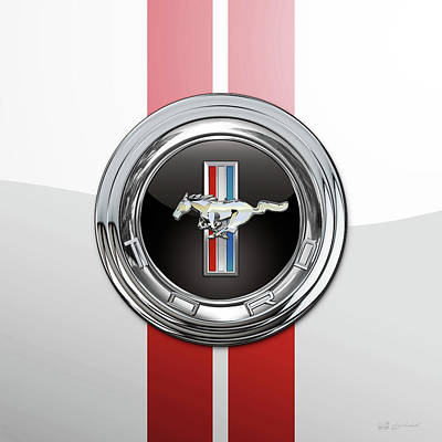 Digital Art - Ford Mustang 3 D Badge Special Edition On White With Red Stripes by Serge Averbukh