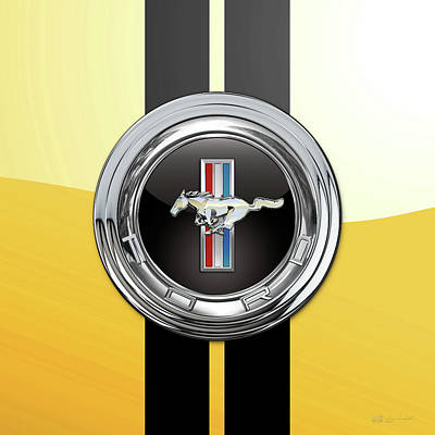Digital Art - Ford Mustang 3 D Badge Special Edition On Yellow With Black Stripes by Serge Averbukh
