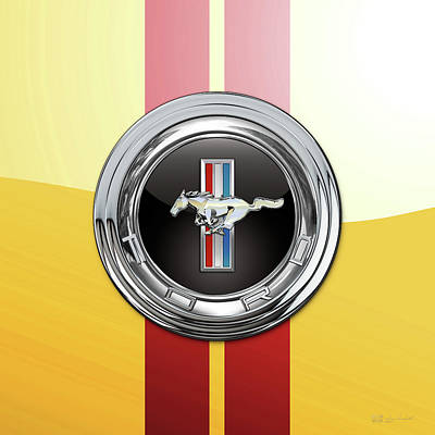 Digital Art - Ford Mustang 3 D Badge Special Edition On Yellow With Red Stripes by Serge Averbukh
