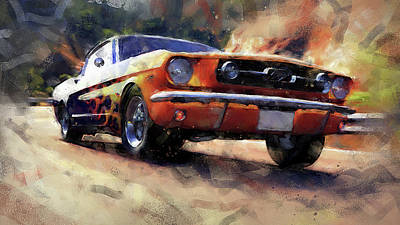 Painting - Ford Mustang Fastback 1966 - 02 by Andrea Mazzocchetti