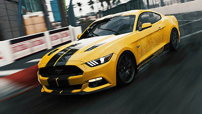 Photograph - Ford Mustang Gt 2015, Long Beach - 01 by Andrea Mazzocchetti