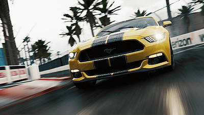 Photograph - Ford Mustang Gt 2015, Long Beach - 02 by Andrea Mazzocchetti