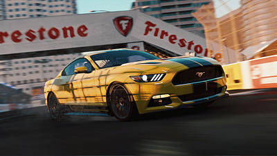 Photograph - Ford Mustang Gt 2015, Long Beach - 04 by Andrea Mazzocchetti