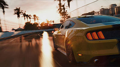 Painting - Ford Mustang Gt 2015, Long Beach - 13 by Andrea Mazzocchetti