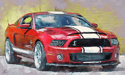Digital Art - Ford Mustang Gt500 Painting by Yury Malkov