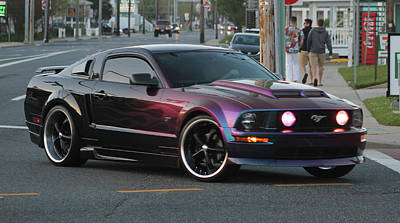 Photograph - Ford Mustang Gt's Purple Flames by Robert Banach