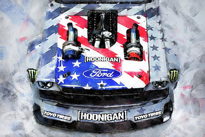 Painting - Ford Mustang Hoonicorn - 03 by Andrea Mazzocchetti