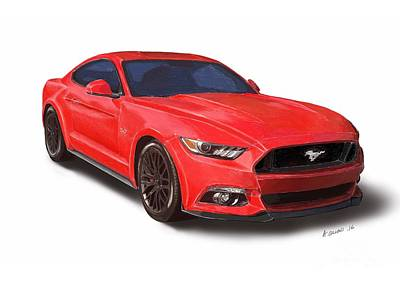 Ford Mustang Print Art Print by Andrew Collins