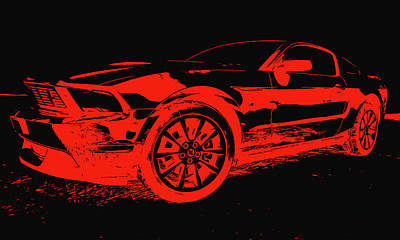 Painting - Ford Mustang - Red And Black by Andrea Mazzocchetti