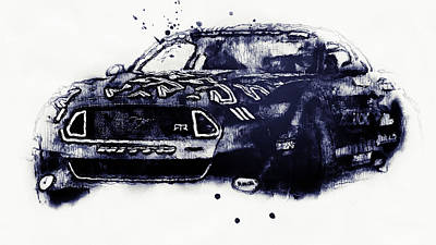 Drawing - Ford Mustang Rtr, 2017 - 39 by Andrea Mazzocchetti
