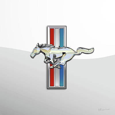Digital Art - Ford Mustang - Tri Bar And A Pony 3 D Badge On White by Serge Averbukh