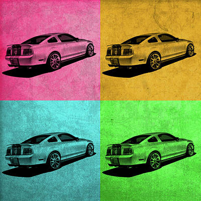 Mustang Mixed Media - Ford Mustang Vintage Pop Art by Design Turnpike