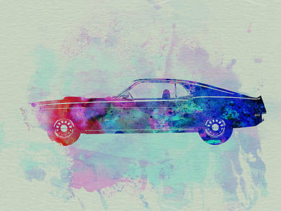 Racetrack Painting - Ford Mustang Watercolor 1 by Naxart Studio