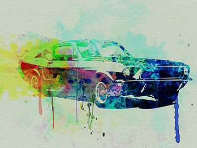 Racetrack Painting - Ford Mustang Watercolor 2 by Naxart Studio