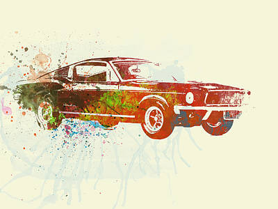 Racetrack Painting - Ford Mustang Watercolor by Naxart Studio