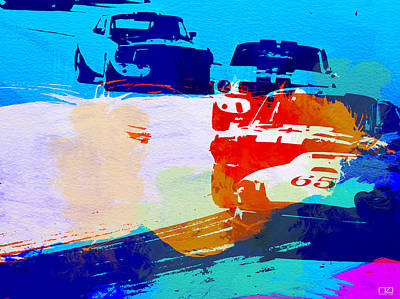 Racetrack Photograph - Ford Mustang Watercolor by Naxart Studio