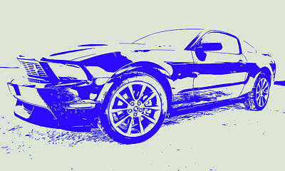 Painting - Ford Mustang - White And Blue by Andrea Mazzocchetti