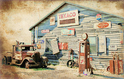Photograph - Ford Pick Up At Texaco Gas Station by Athena Mckinzie