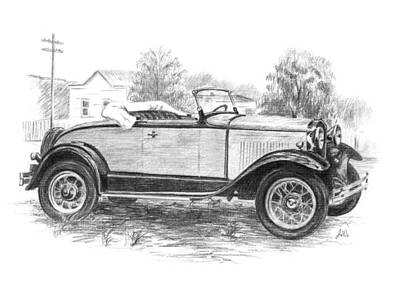 Antique Automobiles Drawing - Ford Roadster by Joe Winkler