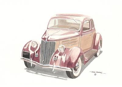 Ford Sedan  1935 Art Print by John Kinsley