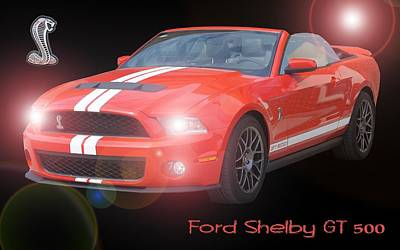 Rights Managed Images Digital Art - Ford Shelby Gt 500 by David and Lynn Keller