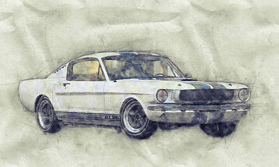 Mixed Media - Ford Shelby Mustang Gt350 - 1965 - Sports Car 1 - Automotive Art - Car Posters by Studio Grafiikka