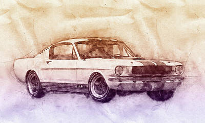 Mixed Media - Ford Shelby Mustang Gt350 - 1965 - Sports Car 2 - Automotive Art - Car Posters by Studio Grafiikka