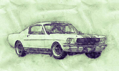 Mixed Media Royalty Free Images - Ford Shelby Mustang GT350 - 1965 - Sports Car 3 - Automotive Art - Car Posters Royalty-Free Image by Studio Grafiikka