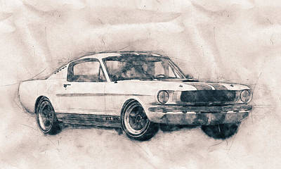 Mixed Media - Ford Shelby Mustang Gt350 - 1965 - Sports Car - Automotive Art - Car Posters by Studio Grafiikka