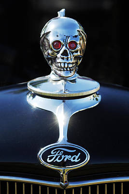 Chrome Skull Photograph - Ford Skull Hood Ornament by Jill Reger