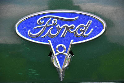 Photograph - Ford V8 Badge by Mike Martin