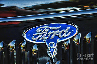 Blue Ford Photograph - Ford V8 Classic Car Badge by Paul Ward