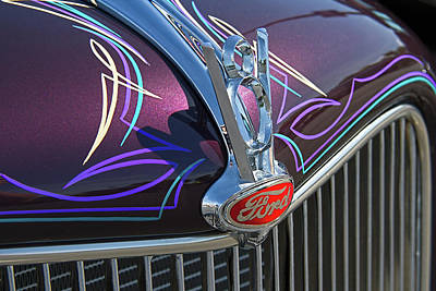 Purple V8 Photograph - Ford V8 Hood Ornament by Nick Gray