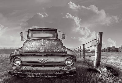 Photograph - Ford V8 On The Farm Black And White by Debra and Dave Vanderlaan