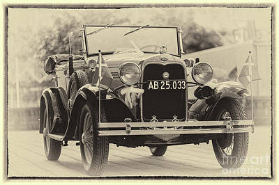 Photograph - Vintage Ford, Sepia Framed by Vyacheslav Isaev