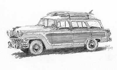 Drawing - Ford Wagon Sketch by David King